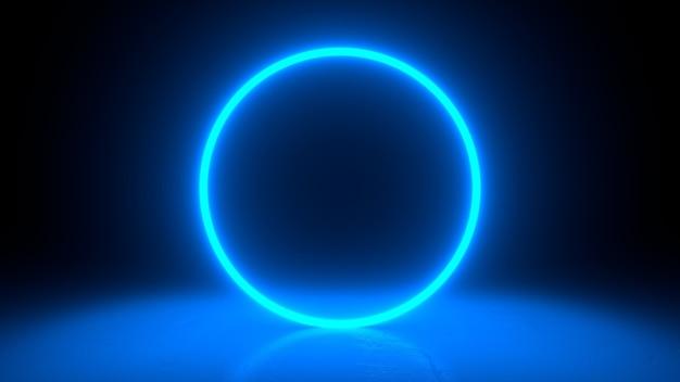 Circle neon blue light in black hall room.