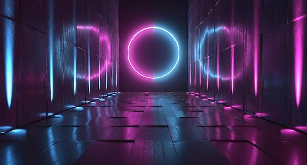 원형 네온 불빛. 미래형 터널 스튜디오 스테이지 3d 렌더링
