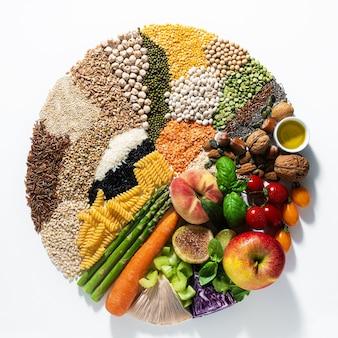 基本的なビーガンの食材と製品の輪。穀物、豆類、新鮮な野菜と果物、油、種子とナッツ。白で隔離されるバランスの取れた健康的な食事