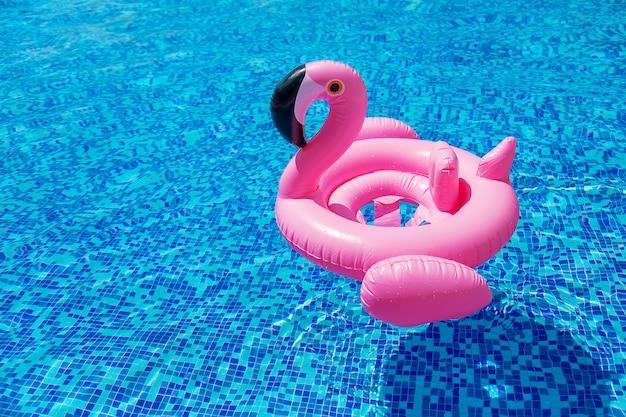 Круг фламинго в бассейне. выборочный фокус. воды.