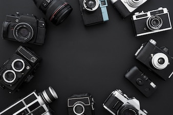 Circle of photo and video cameras