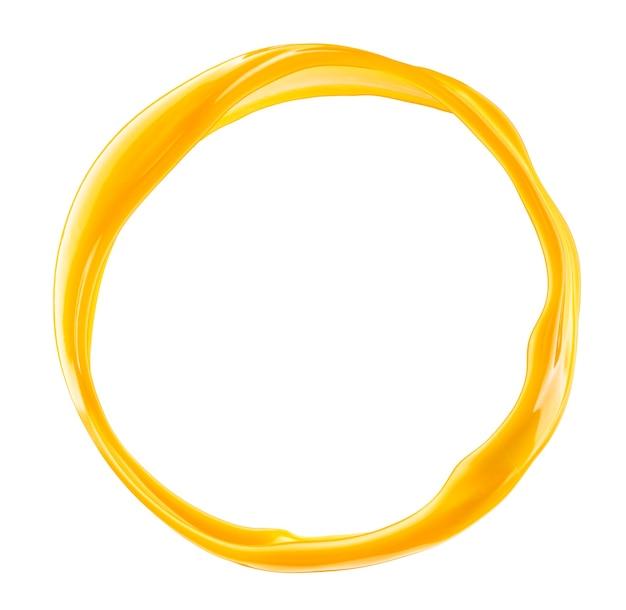 Всплеск апельсинового сока круг, изолированные на белом фоне