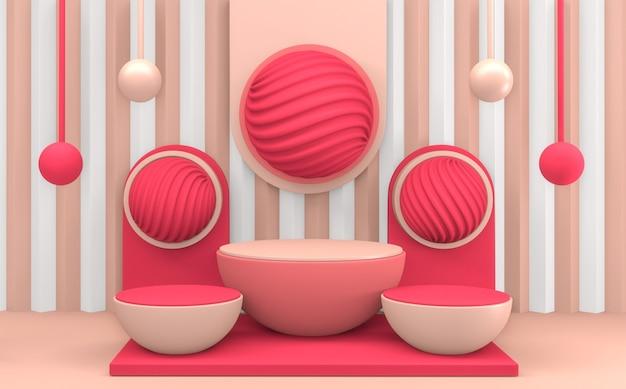 원 핑크 연단 최소한의 디자인. 3d 렌더링