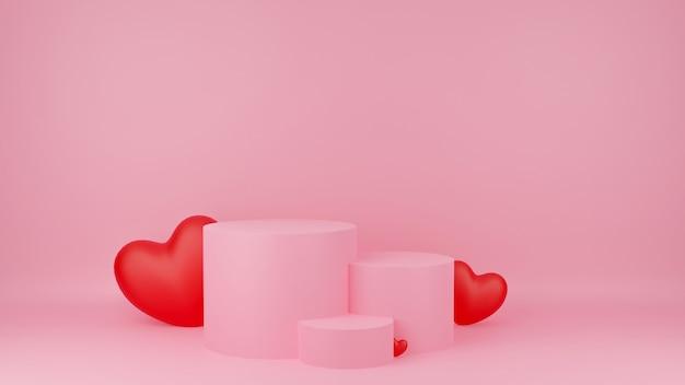 붉은 마음으로 원 연단 핑크 파스텔 색상입니다. 발렌타인 데이 개념. 제품에 대한 목업 쇼케이스.