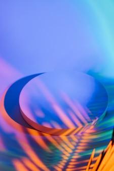 製品を表示する色のスタイリッシュな明るい背景にヤシの葉からの影で表彰台を丸で囲みます。