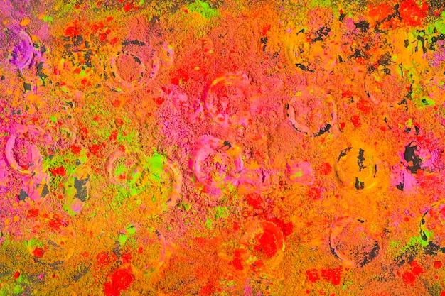 Circle prints on multicolor powder
