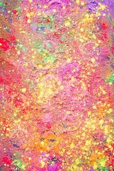 Circle prints on colourful powder