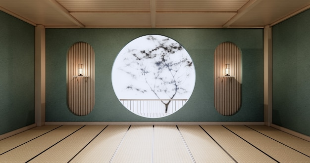 원형 선반 벽 디자인, 민트 빈 방 일본 deisgn, 다다미 바닥. 3d 렌더링