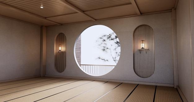 다다미 바닥이 있는 빈 거실 일본 디자인의 원형 선반 벽 디자인. 3d 렌더링