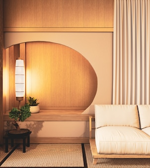 Circle shelf wall on  living room japanese deisgn with tatami mat floor. 3d rendering