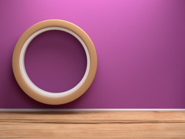 Circle sofa in room with wooden door, 3d rendering