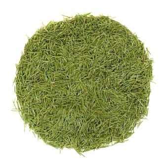 Стек круг зеленых игл, изолированные на белом фоне