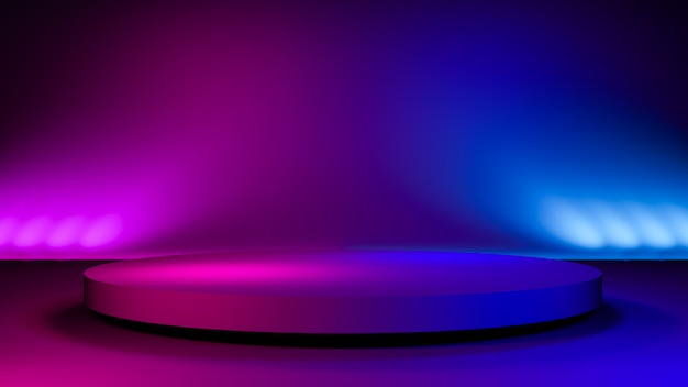 Circle stage,abstract futuristic  background,ultraviolet  concept,3d render