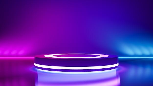 サークルステージと紫色のネオンの光、抽象的な未来的な背景