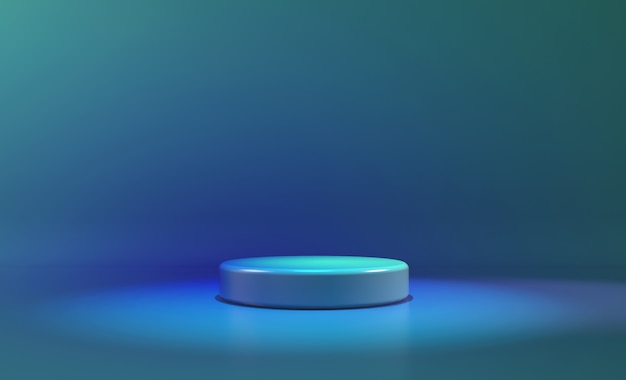 Circle stage blue neon light. abstract futuristic background