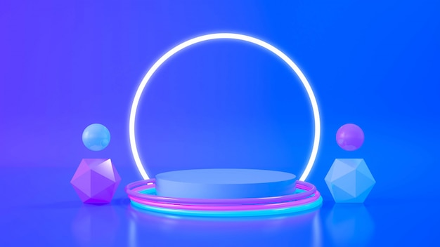 Circle stage neon light. abstract futuristic background