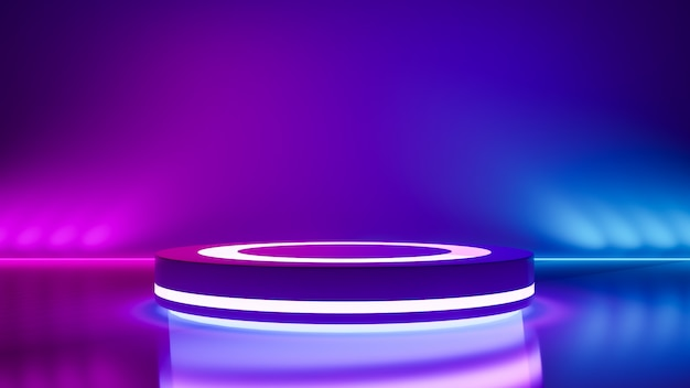 Circle stage and purple neon  light ,abstract futuristic background