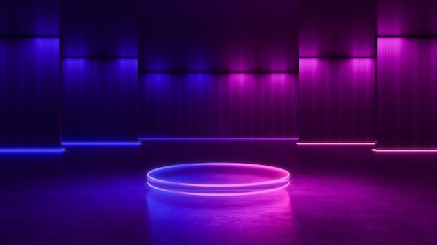 Circle stage with  neon light, abstract futuristic  background, ultraviolet concept, 3d render