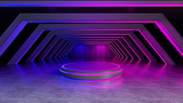 ネオンの光、抽象的な未来的な背景、紫外線の概念、3 dのレンダリングとサークルステージ