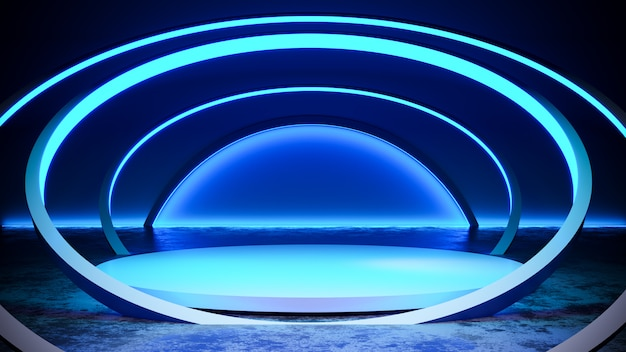 Circle  stage with neon light  blackground, and concrete floor, blue light, 3d render