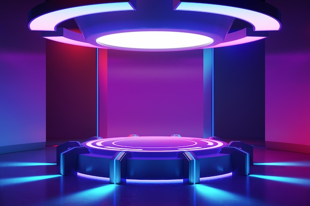Circle stage with and purple neon light