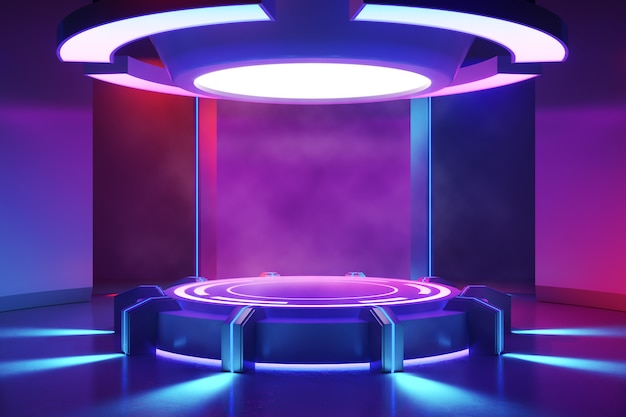 Круглая сцена с дымом и фиолетовым неоновым светом, ультрафиолетовая концепция