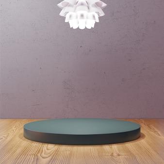 조명 펜던트 램프가있는 어두운 분위기의 오후에 원형 스탠드 expositor 디스플레이