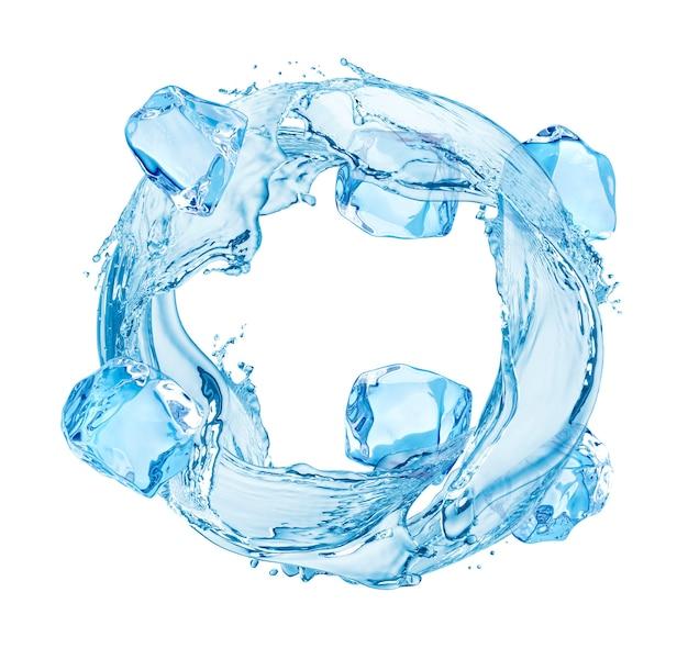 Всплеск воды круг с кубиками льда, изолированные на белом фоне