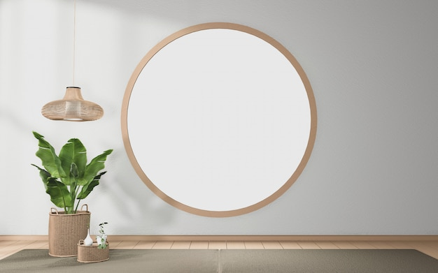Circle window design on tropical room japanese interior design
