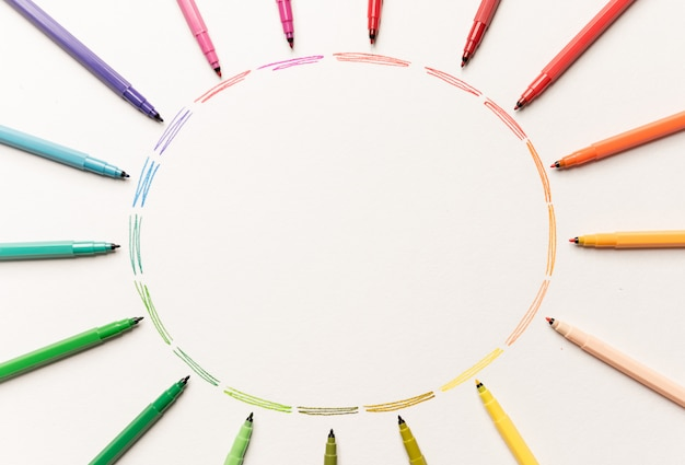 Circle with colorful markers making gradient