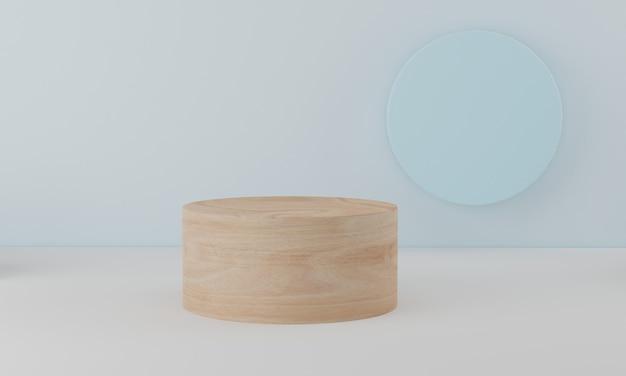 원형 나무 연단 최소한의 흰 벽 장면. 화장품 발표를위한 실린더 연단 플랫폼. 3d 렌더링