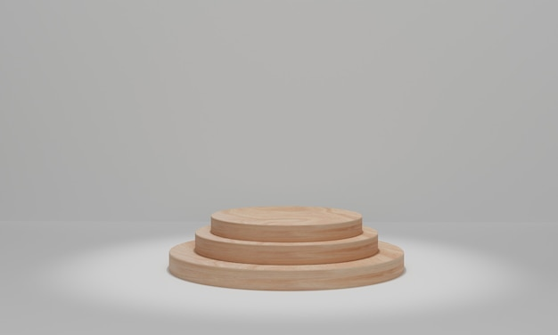Circle wood podium with spotlights. cylinder podium platforms for cosmetic product presentation. 3d rendering