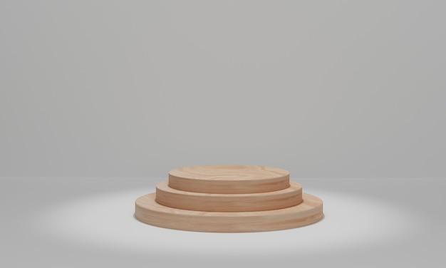 スポットライトで木の表彰台を囲みます。化粧品のプレゼンテーション用のシリンダー表彰台プラットフォーム。 3dレンダリング