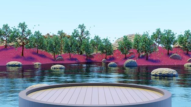ピンクの草の夏の背景3dレンダリングで湖と緑の木々の森を見るために木製の台座を丸で囲みます