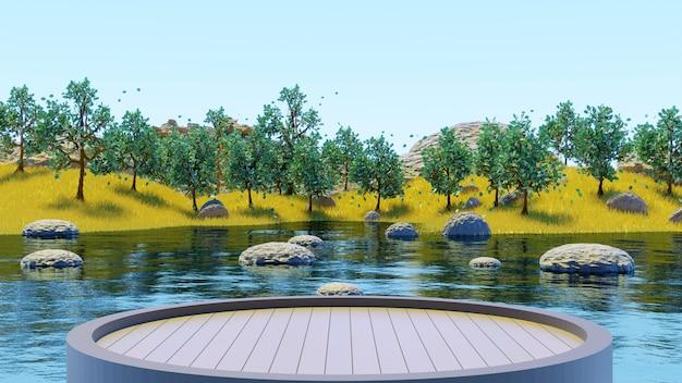 黄色い草の夏の背景3dレンダリングで湖と緑の木々の森を見るために木製の台座を丸く