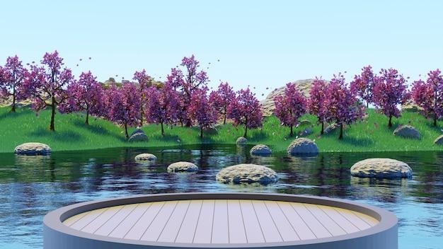 緑の草の夏の背景3dレンダリングで湖とピンクの木の森を見るために木製の台座を丸で囲みます