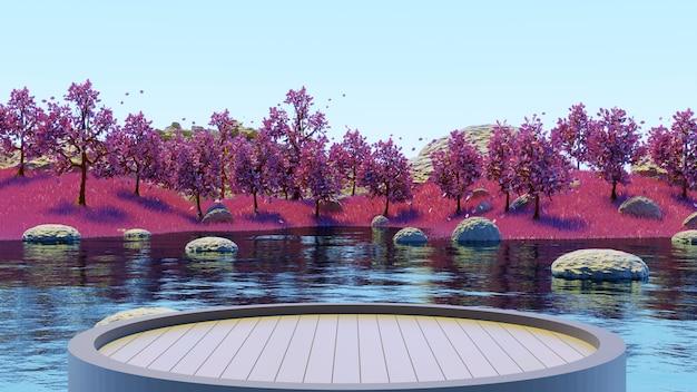 ピンクの草の夏の背景3dレンダリングで湖とピンクの木の森を見るために木製の台座を丸で囲んでください