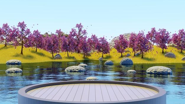 黄色い草の夏の背景3dレンダリングで湖とピンクの木の森を見るために木製の台座を丸く