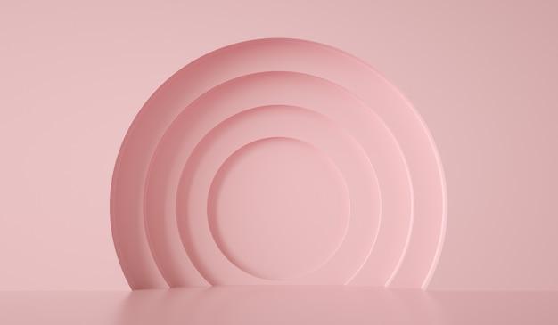 Формы кругов на розовой стене абстрактный фон d визуализации