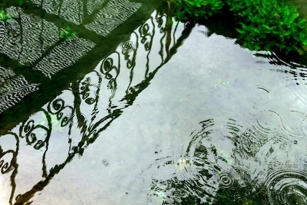 Круги от капель дождя и отражение решетчатого мостика на поверхности мелкого пруда