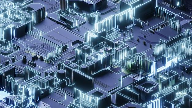 Печатная плата, абстрактный фон сетевых технологий, 3d-рендеринг, концептуальное изображение.