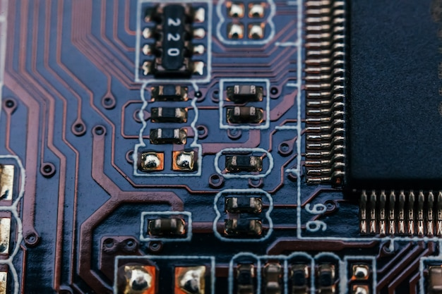 Circuit board repair. electronic hardware modern technology. motherboard digital personal computer chip. tech science wall. integrated communication processor. information engineering component