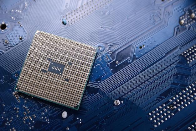 回路基板。技術の背景。中央処理装置cpuの概念。マザーボードのデジタルチップ。ai。クローズアップ