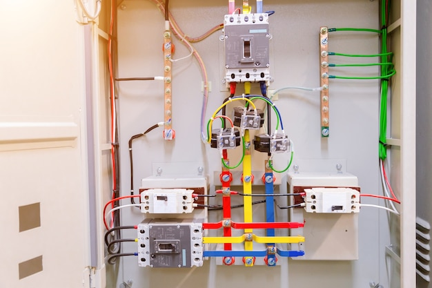 Circuit breakers were installed in the steel main distribution board.