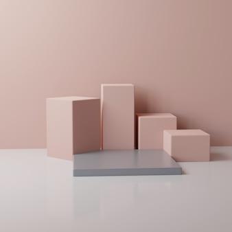 원형 및 사각형 베이지와 핑크 연단, 3d 렌더링