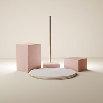 円形および長方形のベージュとピンクの表彰台、3dレンダリング