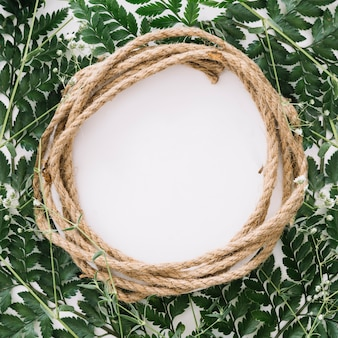 Circular floral composition with rope
