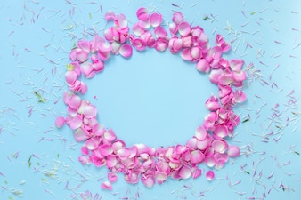 Circular frame made with rose petals on blue background