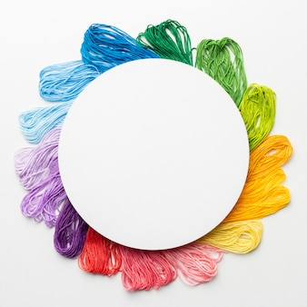 Circular frame with colorful thread