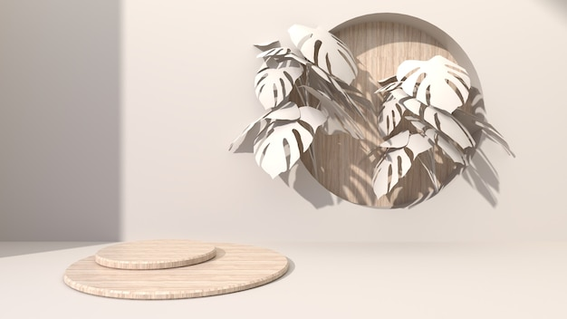 Circular geometric wood cubes on a cream-colored abstract background drill hole putting round wooden. decorate with monstera leaves. for presenting cosmetic products. 3d rendering